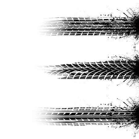 Three black tire track silhouette with grunge ink blots splash
