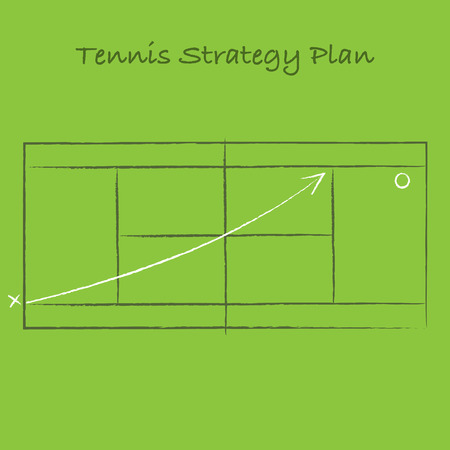 Sport tennis strategy scheme on green field background Illustration
