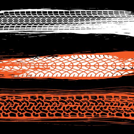 Set of three white, black and red tire tracks and brush lines Illusztráció