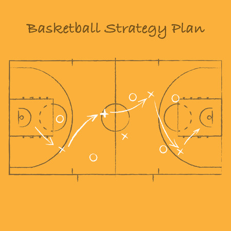 Sport strategy on orange background with basketball court