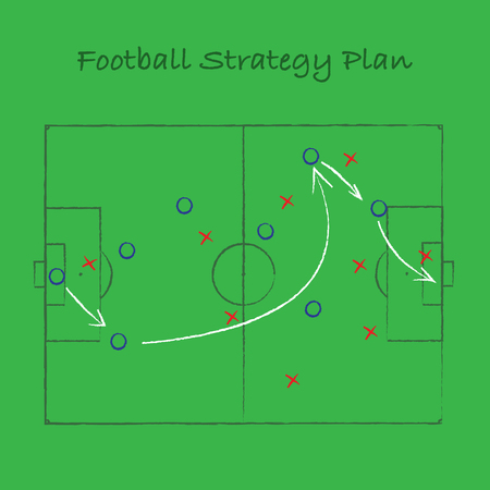Green background with football field silhouette and match strategy