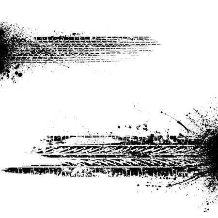 Set of two grunge black tire tracks silhouettes with ink blots splash isolated on white background