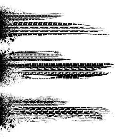 White background with three grunge splash and tire tracks