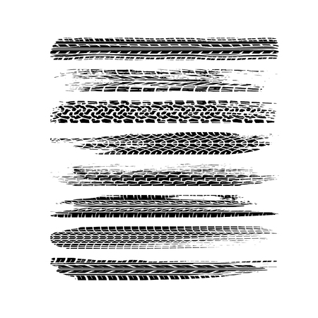 Set of different black tire tracks isolated on white background
