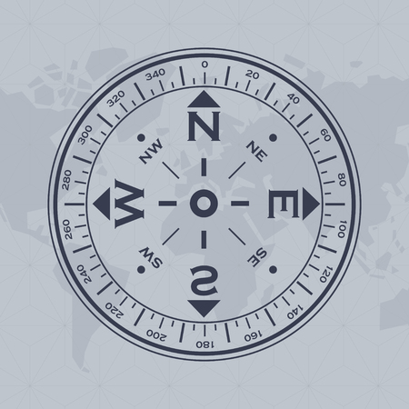 Background with world map silhouette and big black compass