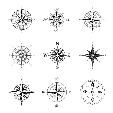 Conjunto de nueve siluetas de rosa de los vientos grunge negro aislado sobre fondo blanco. Ilustración de vector