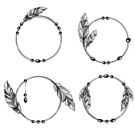 Black outline circle frames set with feathers and circle decoration elements