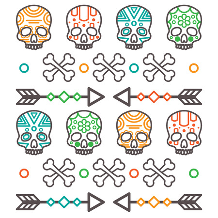 Black silhouettes of tribal human skull with bones and arrows on white background