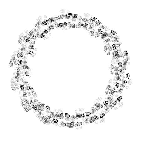 Graue und schwarze Schuhe verfolgen in Kreisform isoliert auf weißem Hintergrund