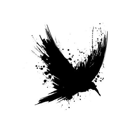 Czarna sylwetka kruka szczotka grunge na białym tle