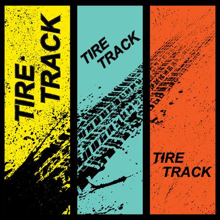Set di tre striscioni di colore diverso grunge con sagome di tracce di pneumatici
