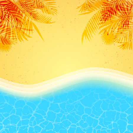 Summer background with palms shadow, beach sand and sea water Illustration