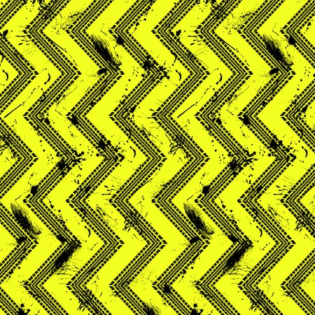 Zig zag tire track silhouettes with grunge ink blots isolated on yellow background Ilustração