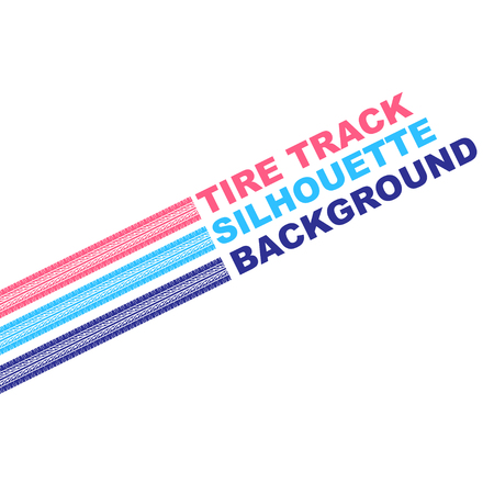 White background with three color tire tracks and sample text