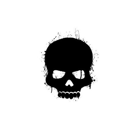 Black grunge silhouettes of human skull on white background