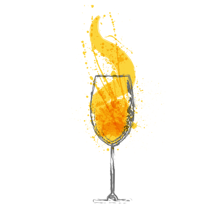 Black silhouettes of cocktail glass with orange drink grunge