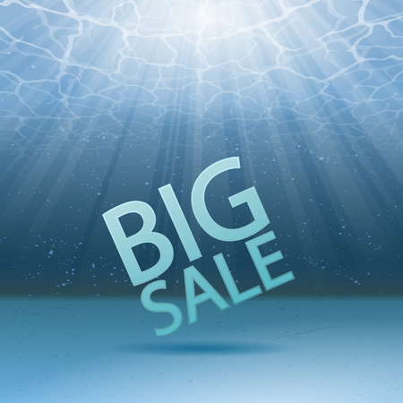 Blue under water background with sun rays and sample sale text