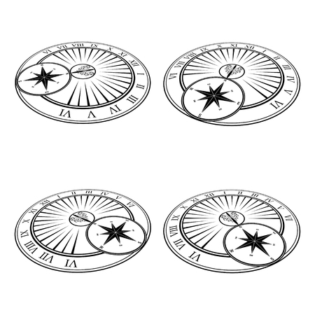 Set of four sundial perspective silhouettes isolated on white background Illusztráció