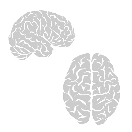 Abstract gray human brain silhouettes isolated on white background