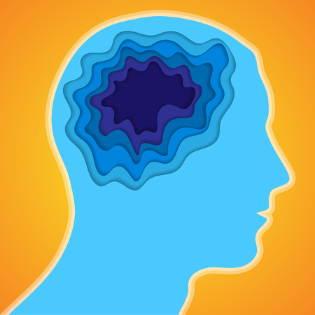 Blue silhouette of man head with cut paper brain Illustration