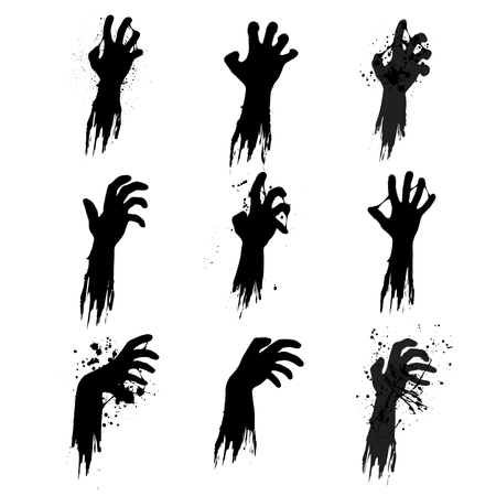 Set of nine black grunge zombie hands isolated on white background