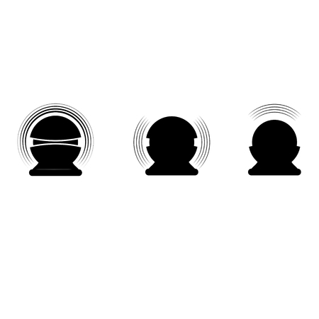 Set of three black voice assistant silhouettes isolated on white background