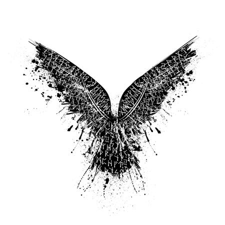 Black grunge bird silhouette with ink splash isolated on white background
