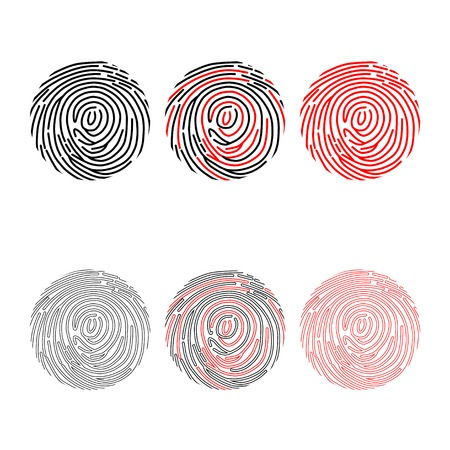 Set of different black and red finger prints isolated on white background