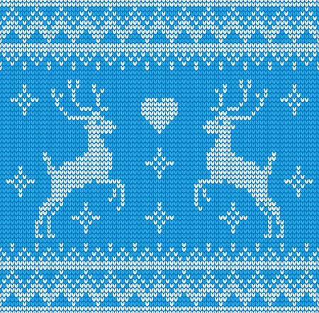 Abstract blue and white seamless knitting pattern with deers background