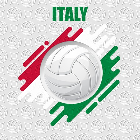 Color volleyball symbol with shadows isolated on white background with Italy flag