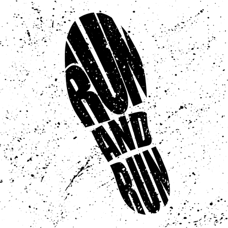 Black shoes grunge silhouette with run words inside