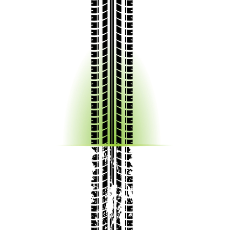 Sfondo bianco con sagoma di traccia di pneumatici neri e grunge Vettoriali