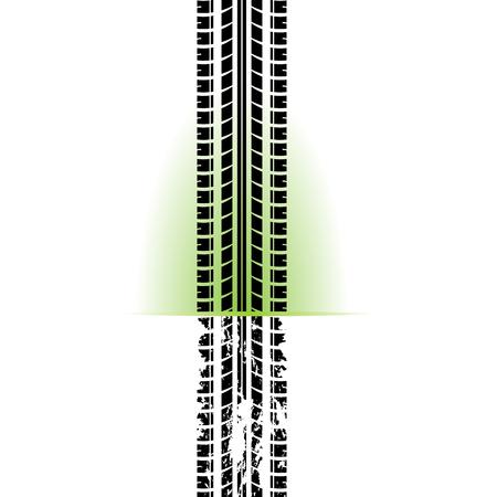 Weißer Hintergrund mit schwarzer Reifenspursilhouette und Grunge Vektorgrafik
