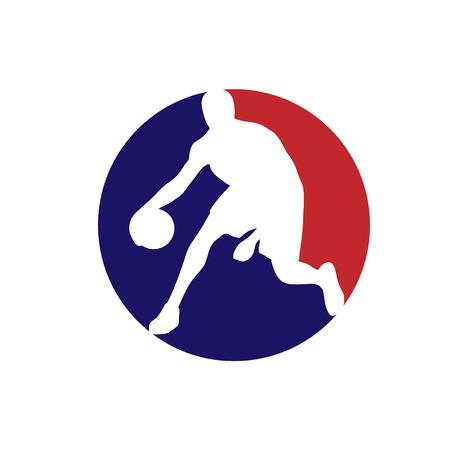 Weiße Basketballspieler-Silhouette auf zwei Farbkreisen isoliert Vektorgrafik