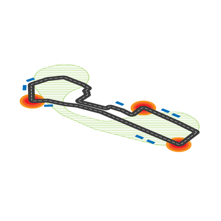 White background with black isometric road and different elements