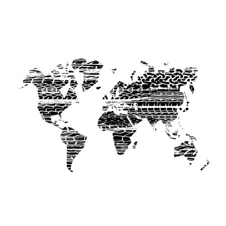 Brushed tire tracks world map Vektorové ilustrace
