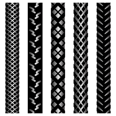 Set of five black gradient silhouettes of bicycle tire track isolated on white background Vectores