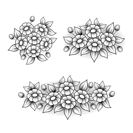 Set of three outline black and white floral patterns isolated on white background