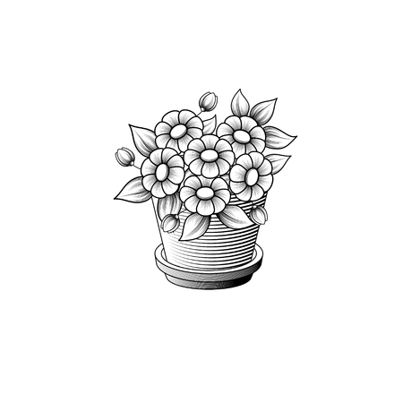 White background with black outline flower in pot