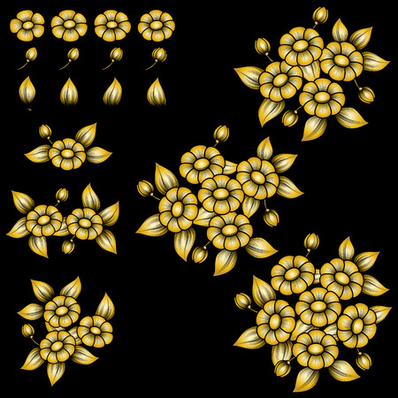 Golden floral bouquets and flowers isolated on black background Illustration