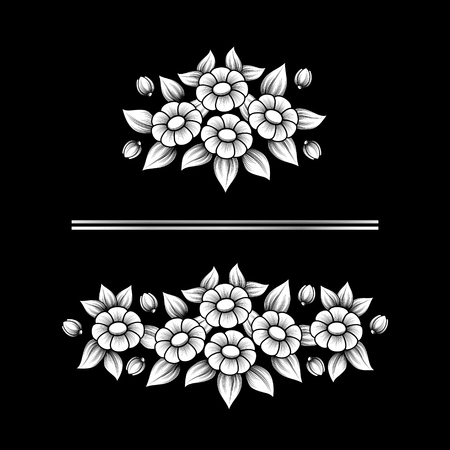 Set of two white floral patterns isolated on black background