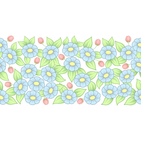 Color floral seamless pattern with daisies isolated on white background