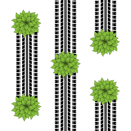 Black tire track silhouettes with green leaves bushes isolated on white background