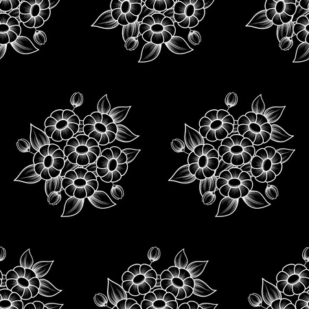 White outline floral bouquetes seamless pattern isolated on black background Illustration