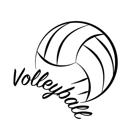 Black outline volleyball sign with sample text isolated on white background