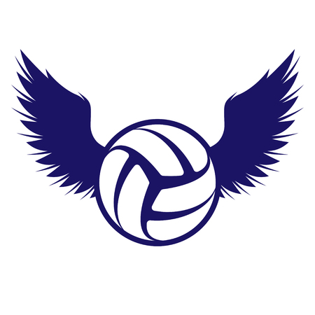 Dark blue outline volleyball symbol with wings silhouettes Illustration