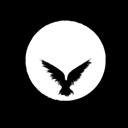 Black grunge bird silhouette with ink splash isolated on white moon