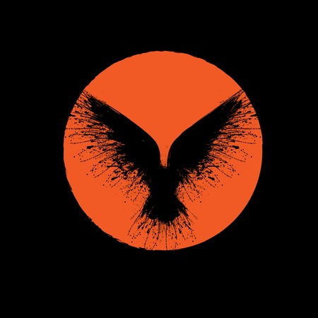 Black grunge bird silhouette with ink splash isolated on red moon