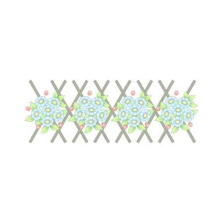 Horizontal pattern with floral elements isolated on white background Standard-Bild - 124652073