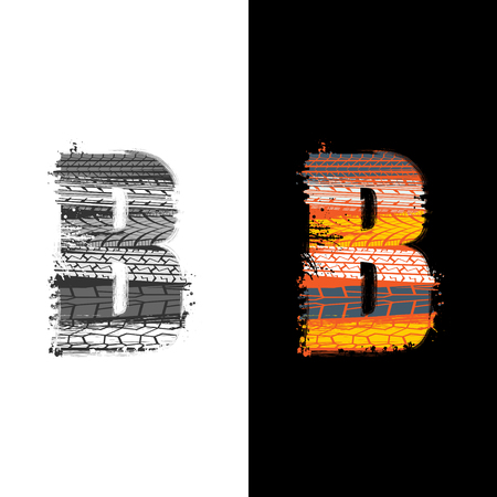 Two grunge letter B with tire tracks isolated on differennt backgrounds